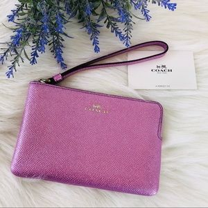 Coach wristlet orchid pink shimmer